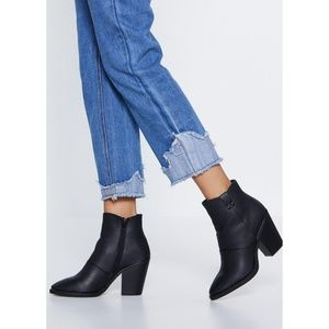NEW, Nasty Gal Black faux leather ankle boots